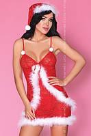 Полупрозрачный кружевной костюм снегурочки