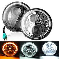 7inch Angel Eyes LED HI / LO Beam DRL Поворотная сигнальная фара для Harley Davidson / Jeep Cherokee