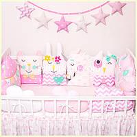 """Защита в кроватку. Бортики зверюшки на 3 стороны """"Розовый мир №2"""""""