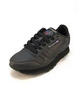 Кроссовки Reebok Classic Leather черные унисекс (р.36,37,38,39,40)