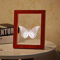 KCASA FL-717 3D-фоторамка Иллюминативный LED Ночной свет Деревянный бабочка Настольный декоративный USB Лампа Для украшения декора интерьера спаль