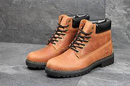 Ботинки Timberland мужские зимние (коричневые), ТОП-реплика