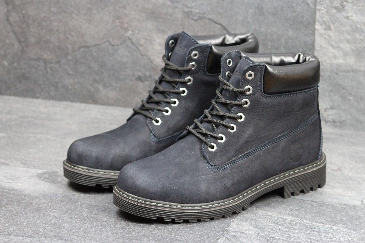 Ботинки Timberland мужские зимние (темно-синие), ТОП-реплика