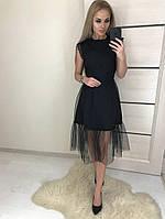 Коктейльное черное платье Sofi с евро-сеткой и кружевом, фото 1