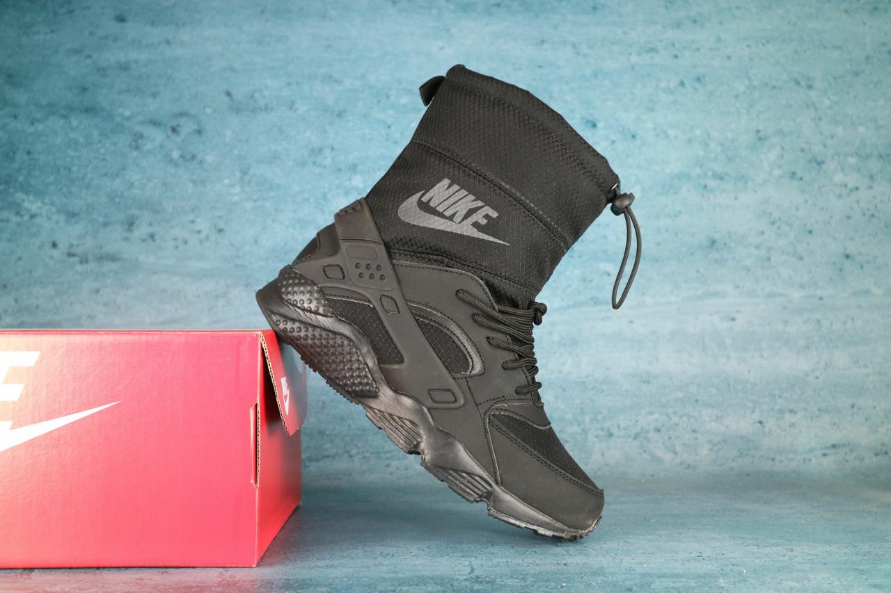 Женские дутики Nike Huarache зимние (черные), ТОП-реплика