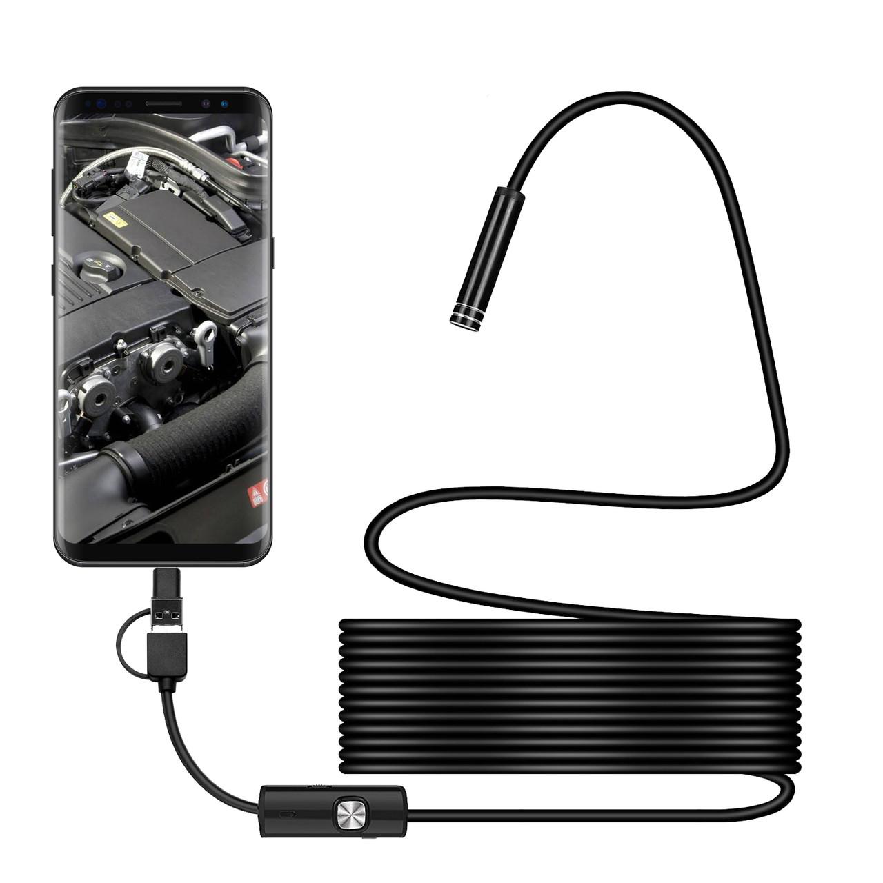 Bakeey 3 в 1 7мм 6Led Тип-С Micro USB эндоскоп инспекция камера Мягкий кабель для ПК Android - ➊TopShop ➠ Товары из Китая с бесплатной доставкой в Украину! в Днепре