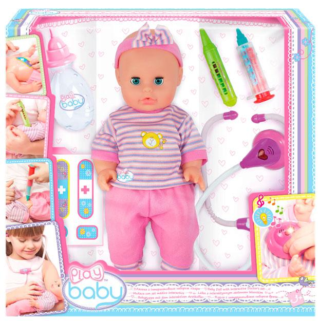 Пупс Плей Беби, 29 см, с интерактивным набором врача, Play Baby