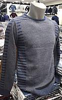 Мужской однотонный свитер из рельефной вязки - Турция