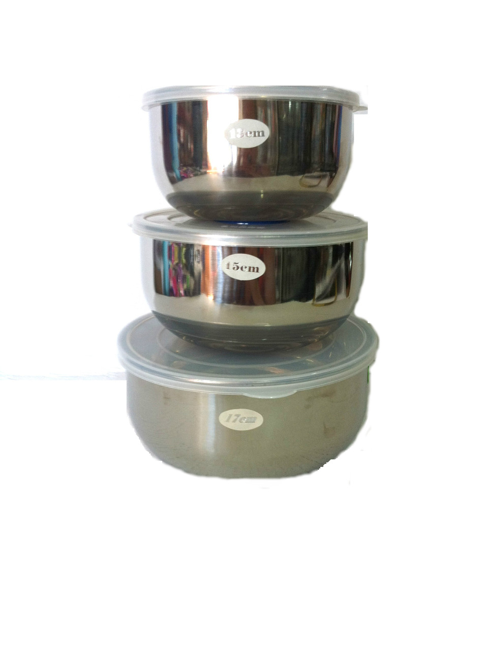 Набір судків 3шт, діаметр 17,15,13 см із нержавіючої сталі