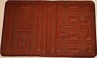 Обложка на водительские документы с тиснением цвет бордовый