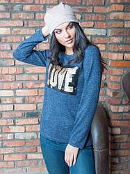 Женская кофта из Ангоры  LOVE синего цвета