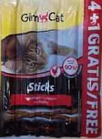 Акция! GimCat Sticks  с птицей для кошек, 4 шт +1 шт. в подарок!