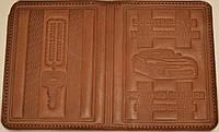 Обложка на водительские документы с тиснением цвет коричневый