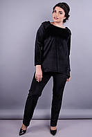 Агат. Элегантный женский костюм больших размеров. Черный.