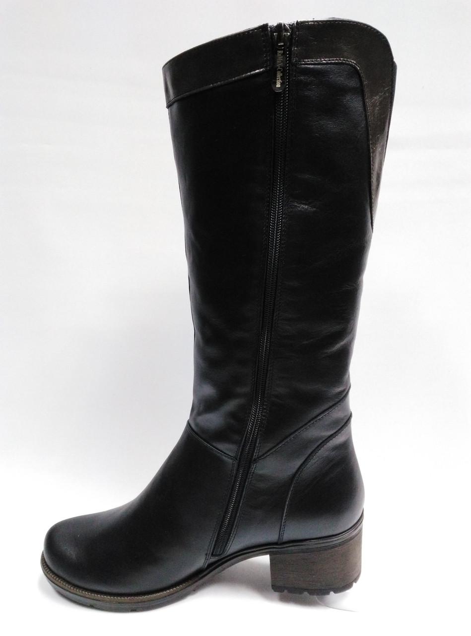 06db116f6 ... Кожаные черные зимние сапоги с широким голенищем. Большие и стандартные  размеры (37 - 43 ...