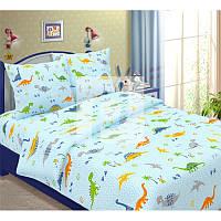Ткань для детского постельного белья,бязь Динозаврики на голубом