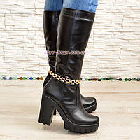 Сапоги женские черные кожаные демисезонные на устойчивом каблуке. 39 размер