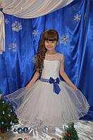 Нарядное белое платье для девочки с синим бантиком, фото 1