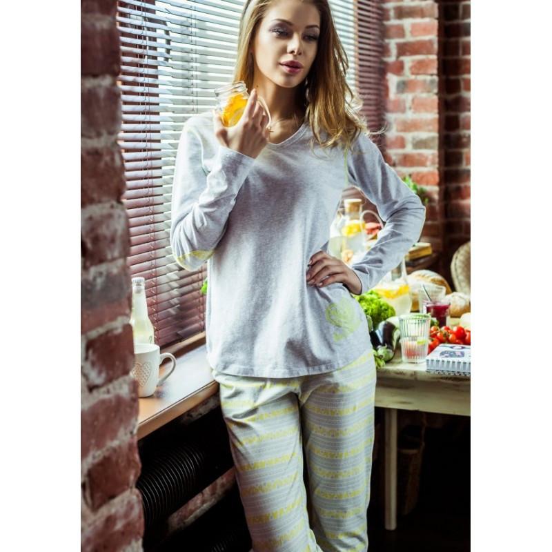 Жіноча піжама з довгим рукавом та завуженими штанами Key LNS 920 b7