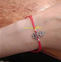 Серебряная красная ниточка на руку.