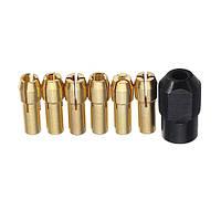 6шт 1-3,2 мм Латунный Дрель Цанговые патроны с M8x0.75мм черной гайкой Аксессуары роторного инструмента дремеля