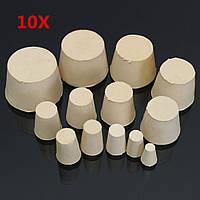 10PcsЛабораторнаяконическаярезиноваяпробковаяпробковая пробка Трубка Пробки сплошная белая 13 Размеры