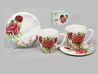 """Сервиз кофейный керамический (4 предмета) чашки и блюдца на подставке """"Bonadi"""""""