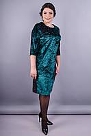 Маренго. Красивое платье супер батал. Изумруд.