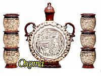 """Винный керамический набор 7 предметов (Графин 1,2 л и шесть стаканов по 150 мл) """"Охота"""""""