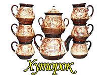 """Сервиз чайный керамический (8 предметов) заварник и сахарница """"Хуторок"""""""