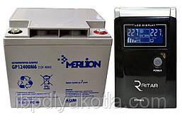Комплект резервного питания ИБП RITAR RTSW-500 + АКБ Merlion GP12-40Ah для 3-4ч работы газового котла