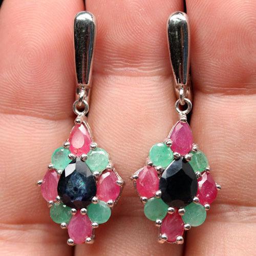 Большие Серебряные серьги-природые камни. Сапфир,рубин,изумруд.