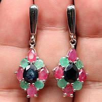 Большие Серебряные серьги-природые камни. Сапфир,рубин,изумруд., фото 1