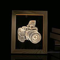 Kcasa FL-704 3D фоторамка иллюминатор LED Ночной свет деревянный Сердце Настольный декоративный USB Лампа для декора декора интерьера спальни Рожд