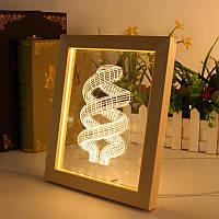 Kcasa FL-705 3D фоторамка Иллюминативный LED Ночной свет Деревянный кольцевой рабочий стол Декоративный USB Лампа Для декора декора интерьера спал