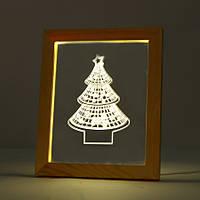 Kcasa FL-709 3D фоторамка Иллюминативный LED Ночной свет Деревянный Рождественский Древо Рабочий стол Декоративный USB Лампа Для Дизайна Декорации