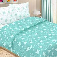Ткань для постельного белья, поплин (хлопок) Звезды бирюзовые, компаньон (белая ткань со звездами)