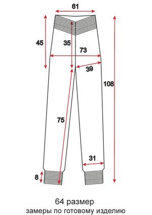 Женские брюки-шаровары - 64 размер - чертеж