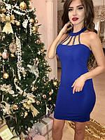 """Откровенное мини платье """"Adelaida"""" с чокером и с декором из камней  (3 цвета)"""