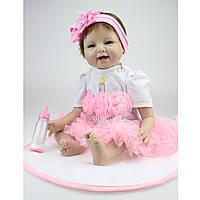22inch Lifelike Reborn Baby Girl Кукла Handmade Силиконовый Виниловые игрушки для новорожденных Play House Toy