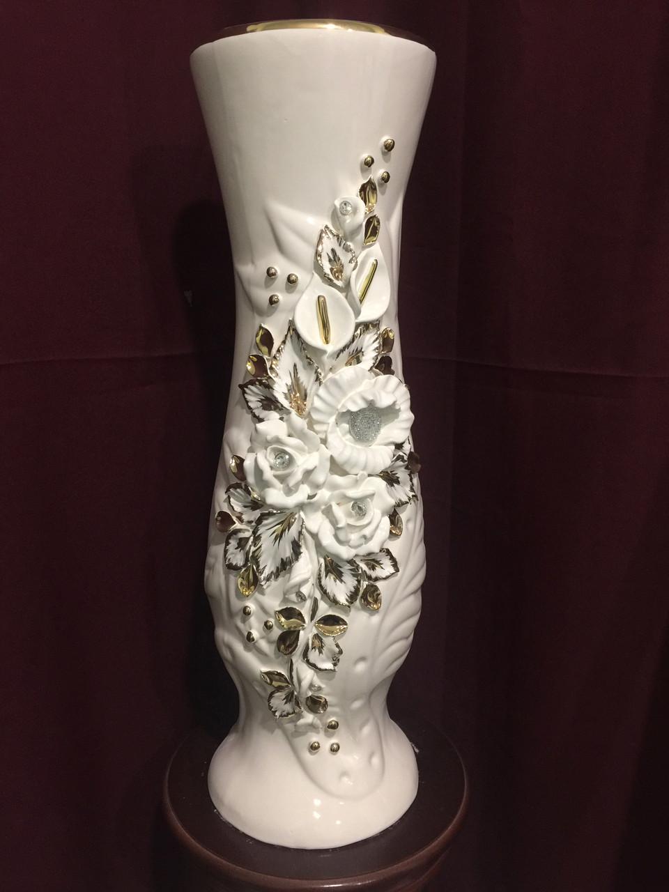 Ваза белая напольная для цветов
