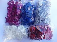 """Набор елочных игрушек """"Ажурные фигурки с блестками"""" (упаковка 12 шт), фото 1"""