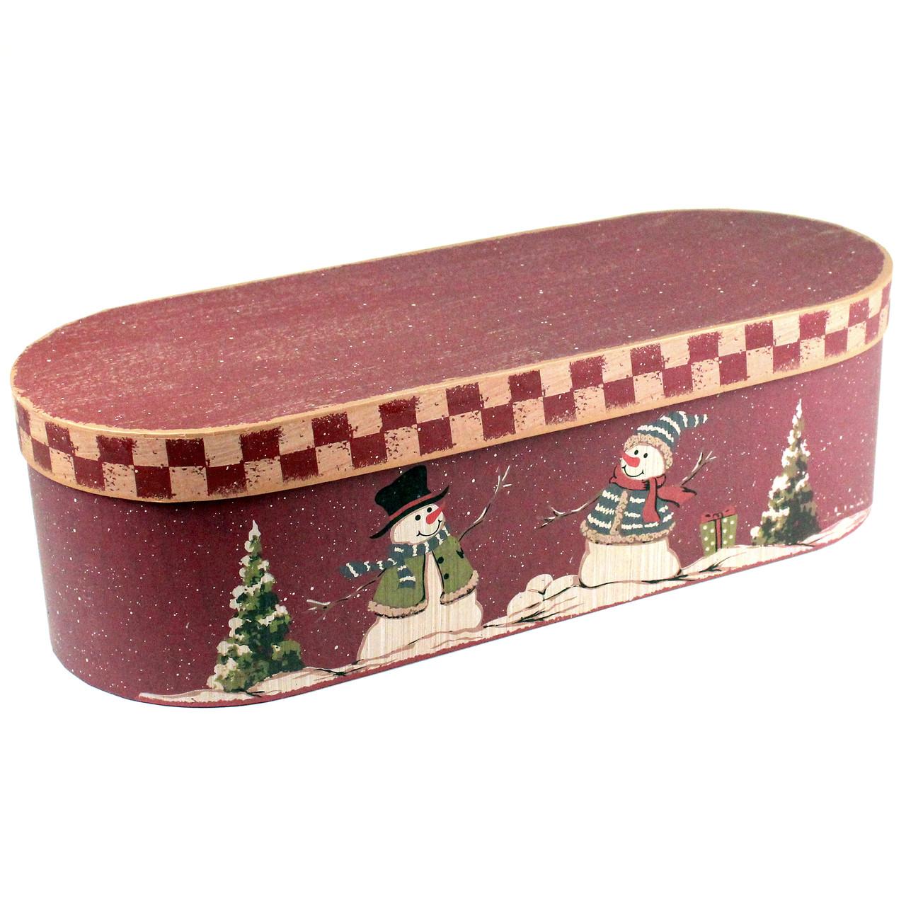 Большая подарочная коробка Снеговики 45 x 16 x 12.5 см