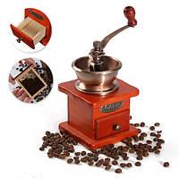Винтаж Деревянная мельница ручной шлифовальный станок для обработки кофейных зерен Инструмент