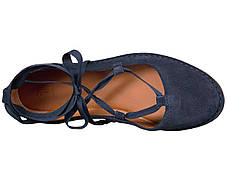 Туфли без каблука (Оригинал) Frye Helena Ankle Tie Navy Soft Oiled Suede, фото 3