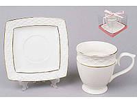 """Сервиз кофейный фарфоровый (2 предмета) чашка и блюдце """"Bonadi"""""""