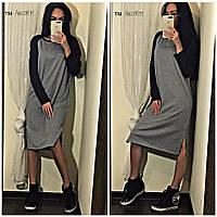 Свободное платье- миди, фото 1