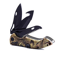 3 in 1 Ourdoor Survival Army Складной нож Многофункциональная пила Крюк Рыбалка Line Tyer Инструмент