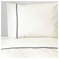 IKEA HAXORT Комплект постельного белья, белый, серый  (603.139.27)