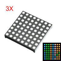 3шт Трехцветный общий анод RGB LED Точечная матрица Дисплей Совместимый с модулем Colorduino